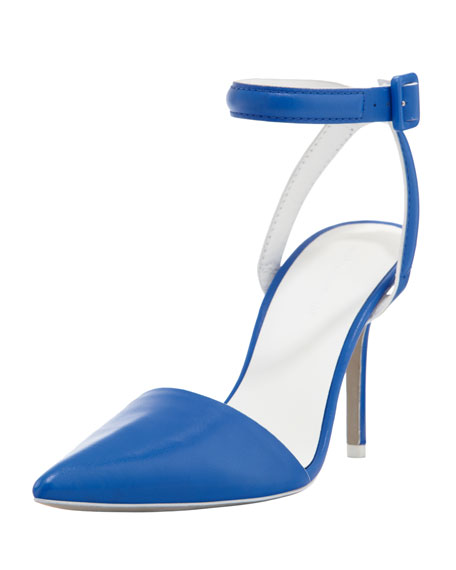 Lovisa Leather Ankle-Wrap Pump, Blue