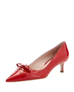 Miu Miu Patent Lace-Up Bow Pump, Red