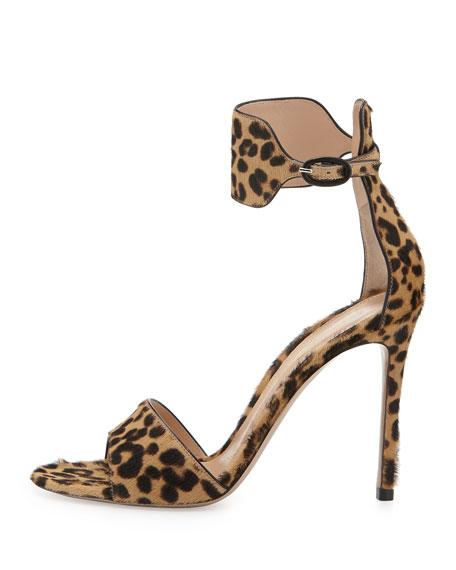 Leopard-Print Ankle-Cuff Sandal