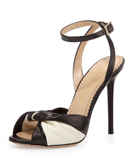Charlotte Olympia Do the Twist Leather Sandal, Black