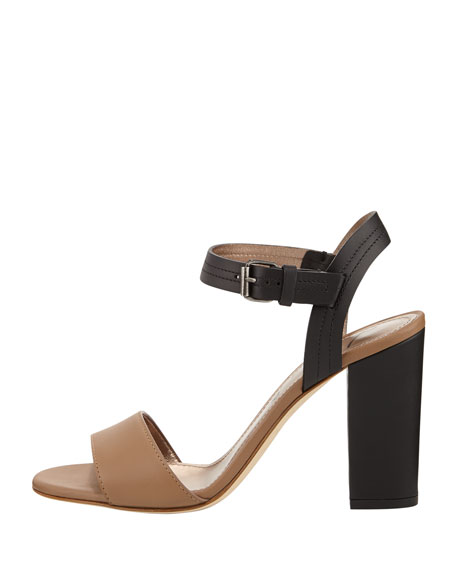 Two-Tone Chunky Buckled Sandal