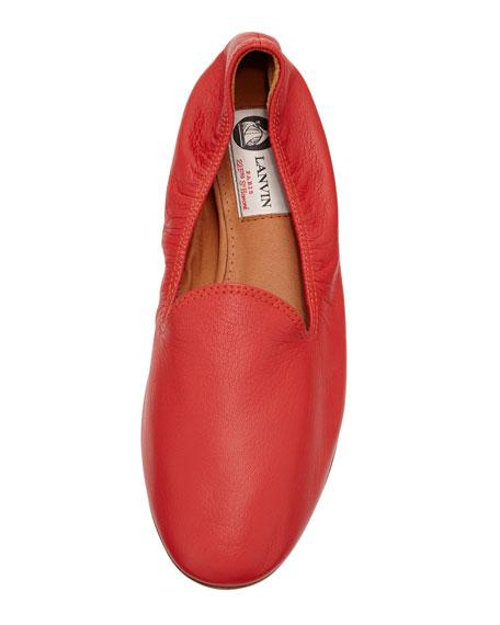 Leather Scrunch Slipper, Red