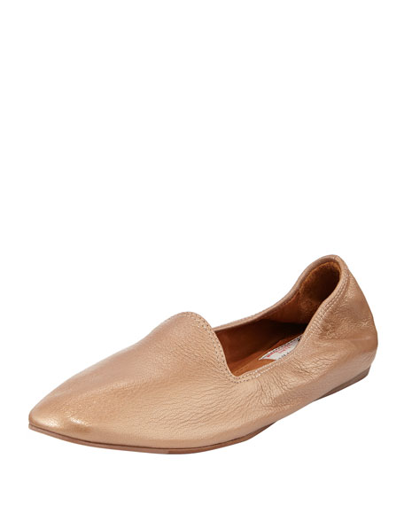 Metallic Leather Scrunch Slipper, Pink