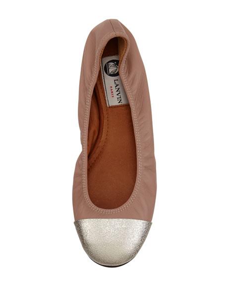 Metallic-Cap-Toe Ballerina Flat, Beige