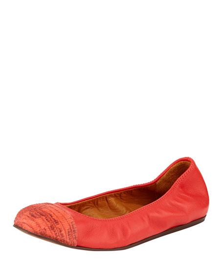 Lizard-Print Cap-Toe Ballerina Flat, Red