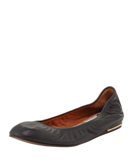 Classic Metal-Heel Ballerina Flat, Black