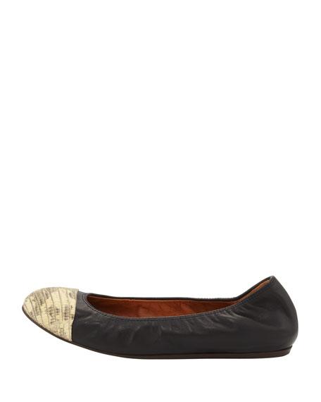 Lizard-Print Cap-Toe Ballerina Flat, Black