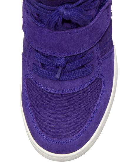 Cool Leather & Canvas High-Top Wedge Sneaker, Blue