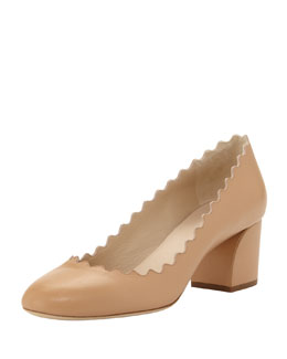 Scalloped Low-Heel Leather Pump, Sand