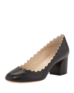 Scalloped Low-Heel Leather Pump, Black