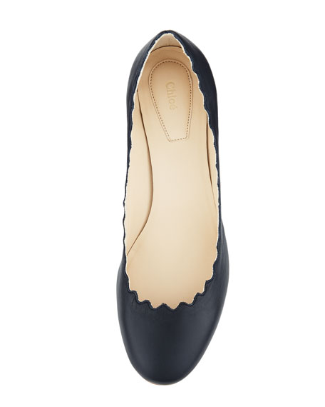 Scalloped Low-Heel Leather Pump, Navy