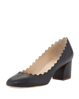 Chloe Scalloped Low-Heel Leather Pump, Navy