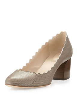Chloe Scalloped Low-Heel Snake Pump, Gray