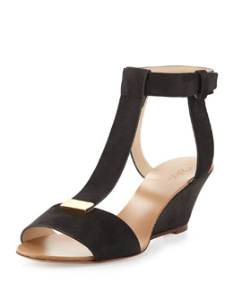 Chloe Nubuck T-Band Wedge Sandal
