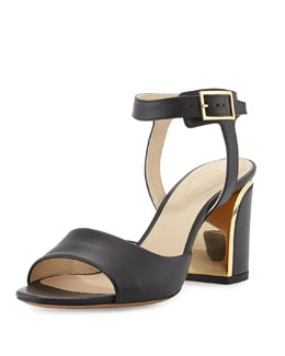 Chloe Leather Curve-Heel Sandal, Black