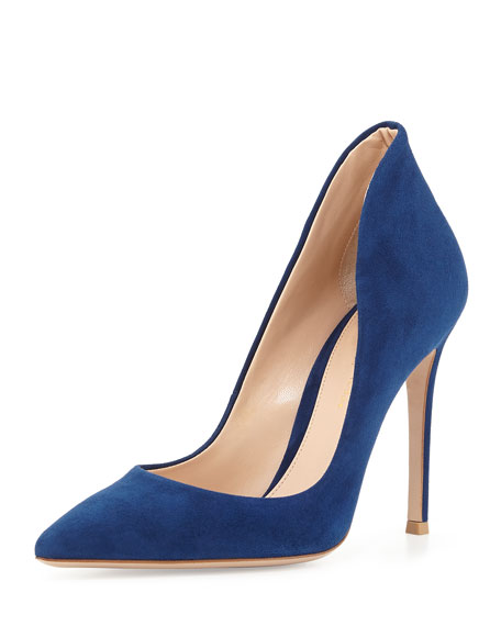 Suede Pointy Flare-Back Pump, Navy
