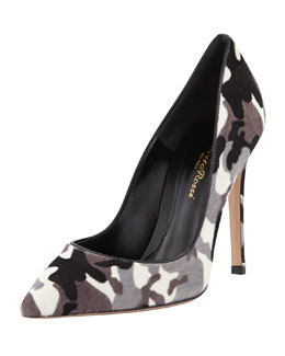 Gianvito Rossi Camo-Print Calf Hair Pump