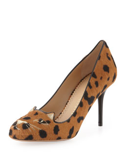Charlotte Olympia Kitty Animal-Print Cat-Embroidered Pump, Black