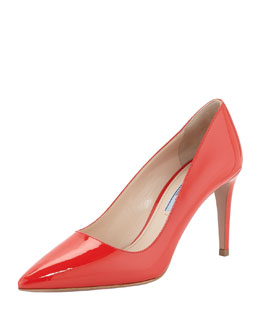 Prada Vernice Pointed-Toe Pump, Red