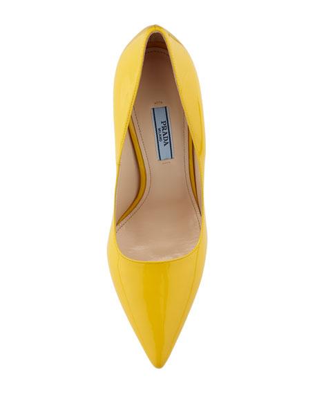 Vernice Pointed-Toe Pump, Yellow