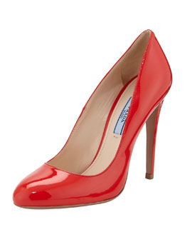 Prada Vernice Round-Toe Pump, Red