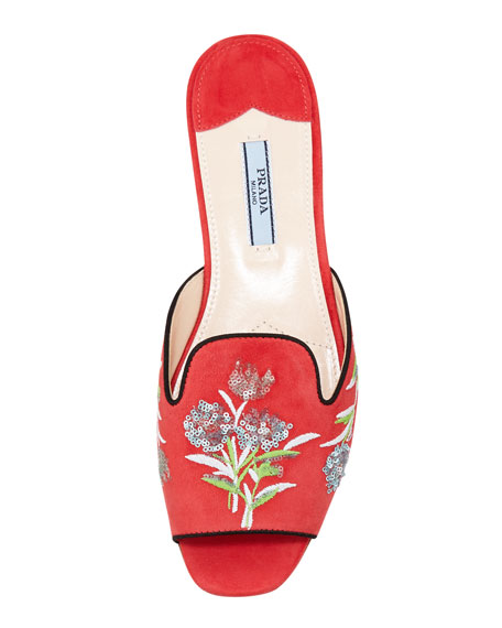 Embroidered Open-Toe Slide, Coral