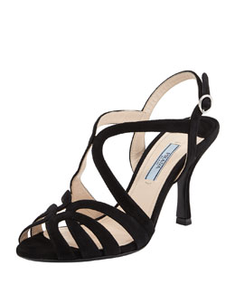 Looped Suede Mid-Heel Sandal