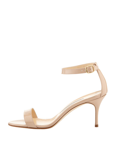 Chaos Patent Ankle-Strap Sandal, Beige