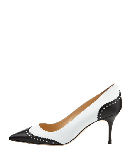 c246a2aede Manolo Blahnik Ancor Two-Tone Spectator Pump, Black/White