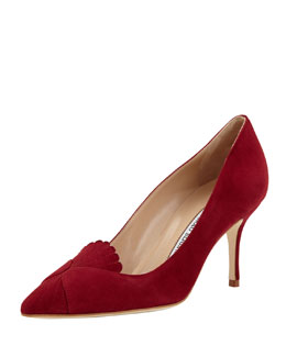 Manolo Blahnik Ponte Scalloped-Detail Loafer Pump, Red