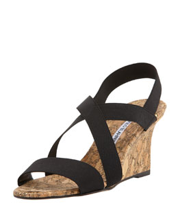 Terwe Elastic Cork Wedge Sandal, Black