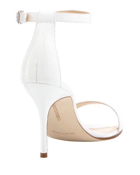 Chaos Patent Ankle-Strap Sandal, White