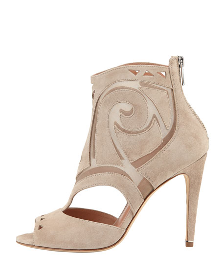 Macee Suede Cutout Bootie, Taupe