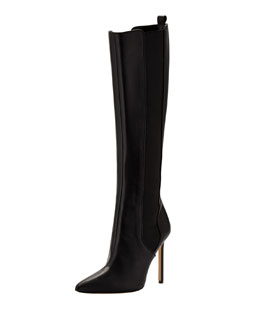Manolo Blahnik Tungadehi Gored Leather Knee Boot, Black