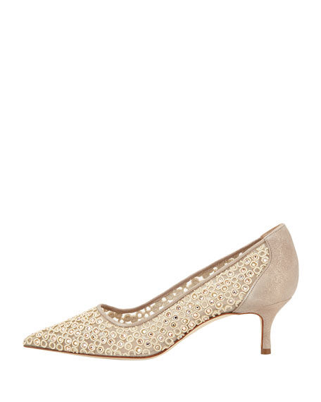 Cerchi Crystal Low-Heel Pump, Gold
