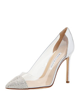 Manolo Blahnik Pacha PVC Crystal-Toe Pump, Gray