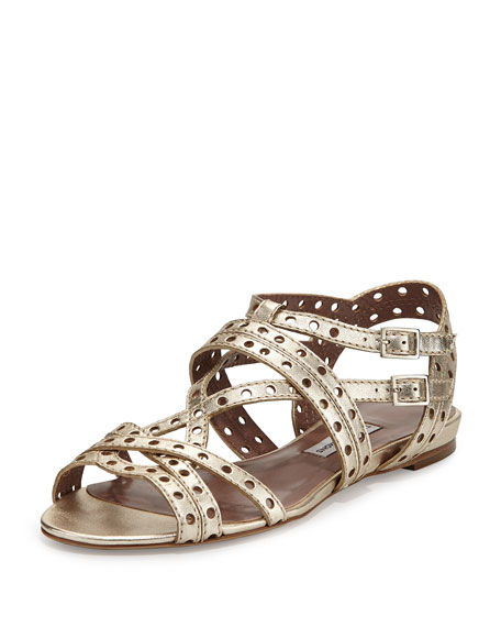 Felicity Perforated Leather Flat Sandal
