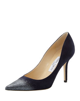 Jimmy Choo Agnes Glitter-Toe Pump, Navy