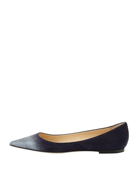 Aline Glitter-Toe Suede Flat