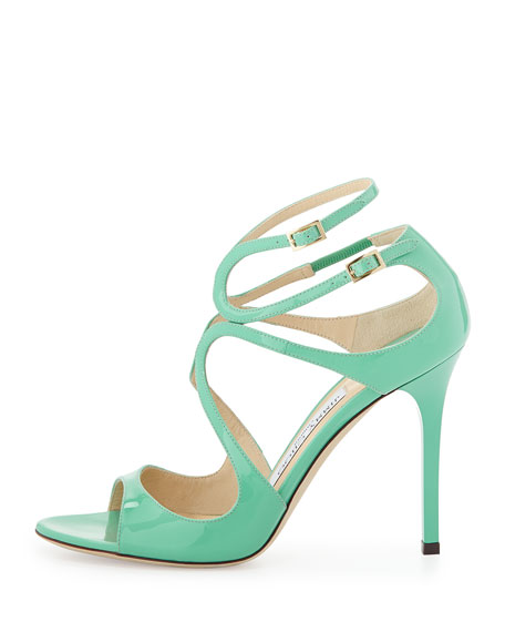 Lang Patent Strappy Sandal, Green