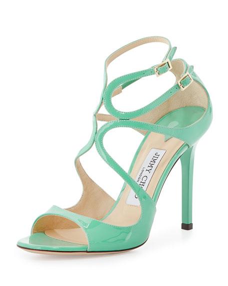 Lang Patent Strappy Sandal, Green