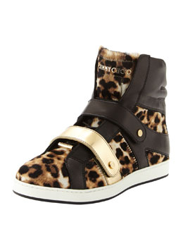 Jimmy Choo Yazz Leopard-Print High-Top Sneaker