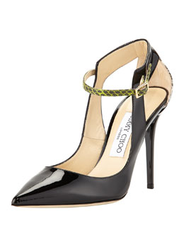 Jimmy Choo Mystic Snake-Trim Pointy Pump, Black