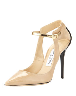 Jimmy Choo Mystic Snake-Trim Pointy Pump, Neutral