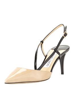 Jimmy Choo Mandy Asymmetric Slingback Pump, Neutral