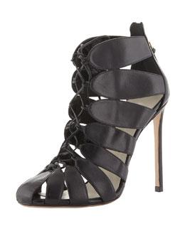 Francesco Russo Lace-Up Cutout Ankle Boot