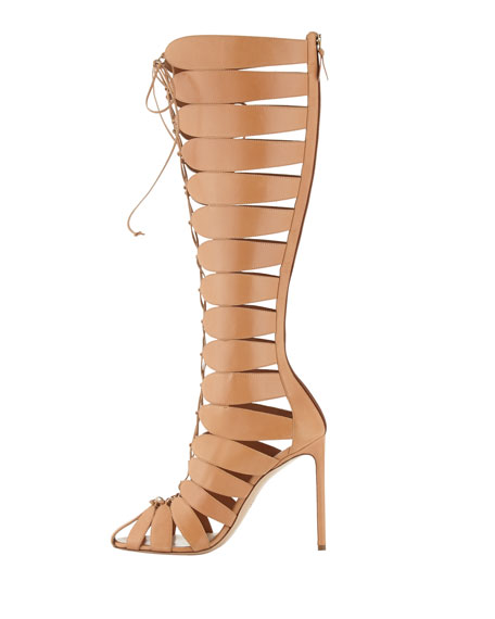 Closed-Toe Gladiator Knee Boot, Tan