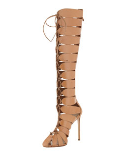 Francesco Russo Closed-Toe Gladiator Knee Boot, Tan