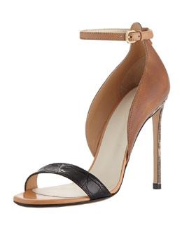 Francesco Russo Two-Piece Combo Ankle-Wrap Sandal