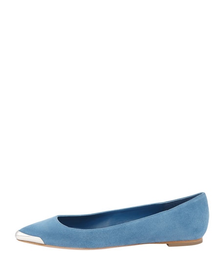 Suede Metal-Tipped Skimmer Flat, Blue